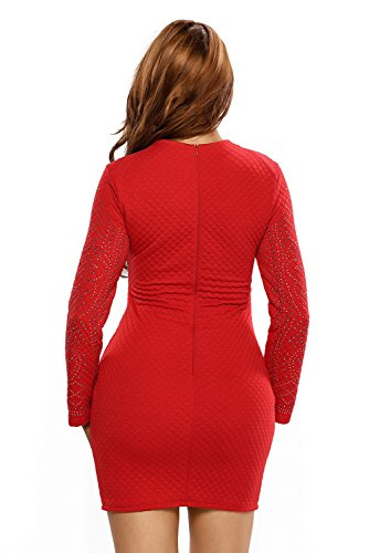 Sleeves Sexy Dress Quilted Jeweled Long CutePaw Mini Women's Spring Dresses Autumn Rhinestones Red RBcYw