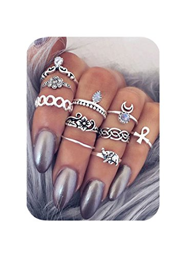 Cyntan Set Of Knuckle Ring Moon Elephant Silver Tone Ring Set For Women 10 Pcs/Set