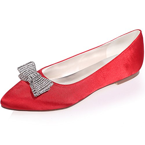 Pointed Sarahbridal Glitter Rhinestone Red Satin Szxf2046 Prom Casual Shoes Flats Bow 19 Ladies Party Size Toe With Style zrTAzq