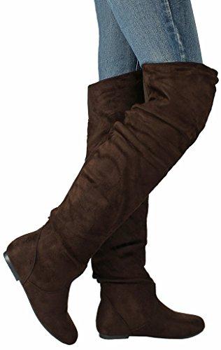 Jjf Sko Kvinner V-hi Mote Slouchy Rund Tå Faux Suede Skrå Mansjett Over Kneet Flate Boots Brun Semsket Skinn