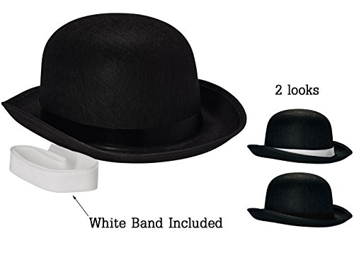 NJ Novelty Black Derby Hat, 5″ Tall Felt Bowler Hat Dress Up Costume Accessory + White Band