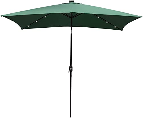 Sundale Outdoor Rectangular Solar Powered 26 LED Lighted Outdoor Patio Umbrella