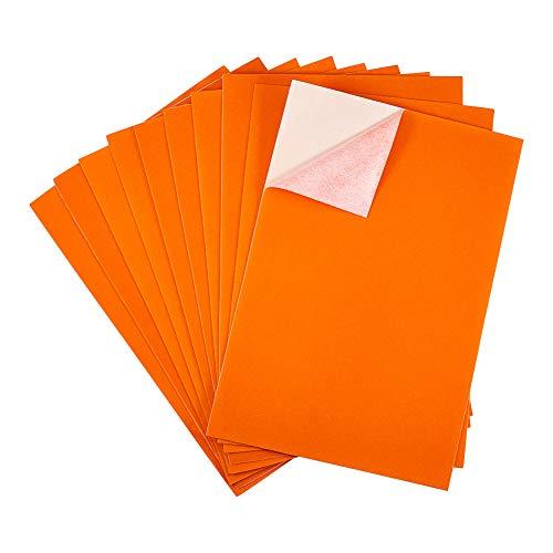 BENECREAT 20PCS Velvet (DarkOrange) Fabric Sticky Back Adhesive Back Sheets, A4 Sheet (8.3