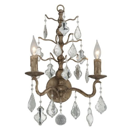 Troy Lighting Siena 2-Light Wall Sconce - Vienna Bronze Finish with Antique Mirror Crystal Shade - Vienna Cast