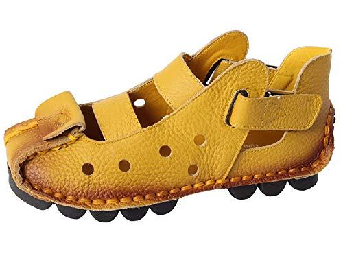 Cuir Main Vintage 2 5 À Taille Véritable Chaussures D'été coloré Sandales Style yellow Qiusa La Pour Nouveau En Uk Femmes S87q7c