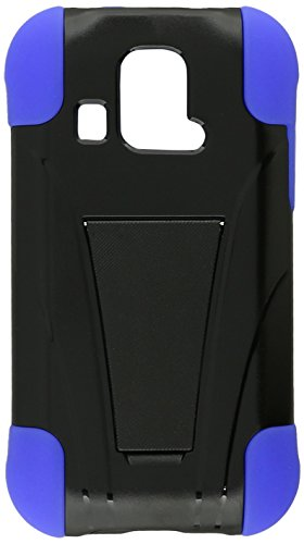 HR Wireless Kyocera Hydro XTRM/C6721 T-Stand Cover - Retail Packaging - Black/Dark Blue (Kyocera Hydro Edge Case Bling)