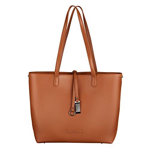 tragwert. Bolso de mano shopper bag LARA en marrón - Bolso de mujer bandolera bolso de hombro Marrón