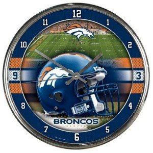 Denver Broncos Official NFL 17 inch x 16 inch Round Chrome Wall Clock by Wincraft, Inc. 279050