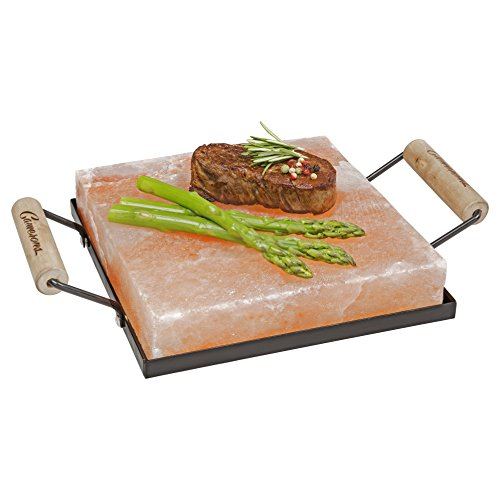 "Camerons Products Himalayan Salt Block Holder & Wire Cleaning Brush- Safe & Easy Salt Slab Plate and Grilling Stone Cooking (8""x8"")"