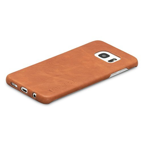 Galaxy S7 Edge Leather Case Back Cover Brown - KANVASA