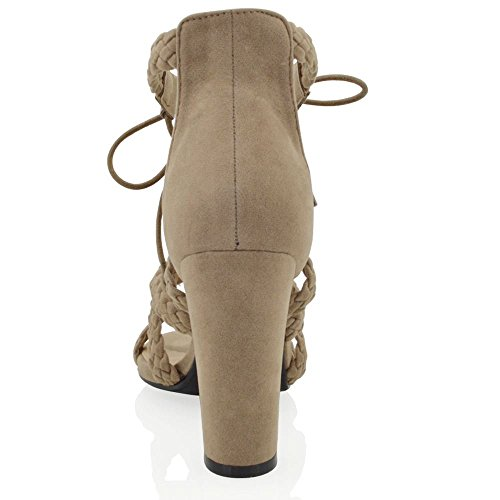 ESSEX GLAM Womens Chunky Heel Sandals Lace Up Tie Faux Suede Woven Strap Open Toe Shoes Khaki Faux Suede nlXqZ7