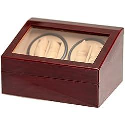 4+6 Burl Wood Quad Watch Winder Automatic Rotation Storage Display Jewelry Box Case Organizers