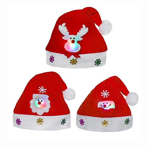 qiaoniuniu Christmas Santa Hat - Unisex Velvet Santa Claus' Cap -Soft Comfort Party Costume Santa Hats Great for Over 8 Years Old Kids and Adult-3 Packages with LED Light