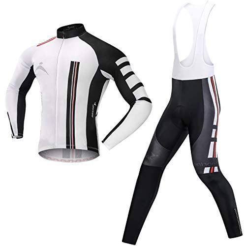 Men's Cycling Jersey Bicycle Bib Pants Set, 4D Padded Cycling Leggings with Long Sleeve Shirt Tights for Outdoor Cyclist Riding Bike Wear (XX-Large)