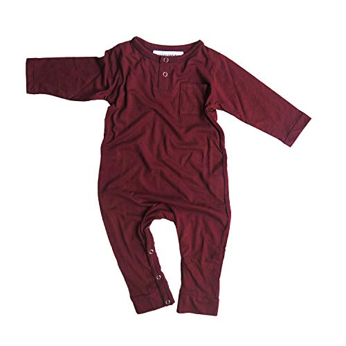 Hey Hendrix Apparel Bamboo Baby Jumpsuit Coveralls (Maroon) from Organically Grown Bamboo (0-3m)