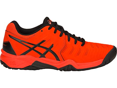 ASICS Kid's Gel-Resolution 7 GS Tennis Shoes, 4.5, Cherry Tomato/Black (Best Junior Running Shoes)