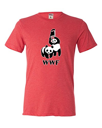 XX-Large Light Red Adult WWF Funny Fighting Pandas Trible...