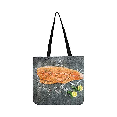 (Delicious Salmon Fillets Canvas Tote Handbag Shoulder Bag Crossbody Bag Comfortable Shopping Bag For Men Women Students Shopping Vegetable Beach)