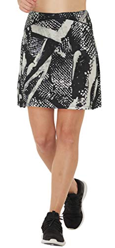 Women Print Golf Skirt Travel Skirts with Pockets Swim Skirt High Waist with Shorts Ink L