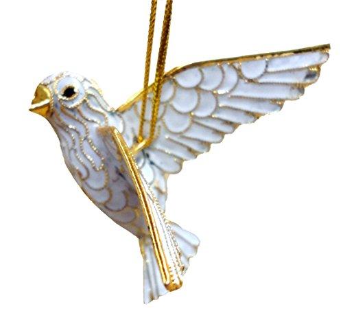 Cloisonne Christmas Tree - Cloisonne Dove Christmas Ornament, Enamel on Copper
