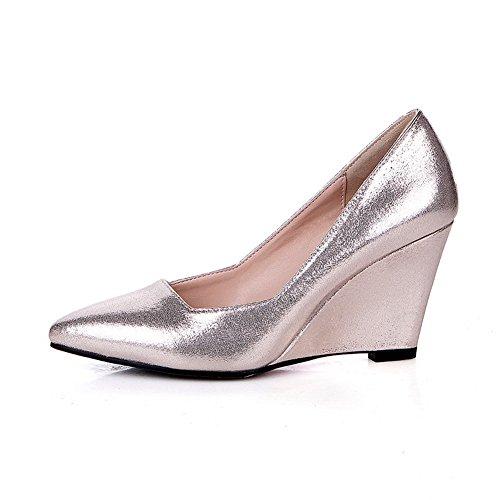 Amoonyfashion Kvinna Mjukt Material Dra På Pekade Sluten Tå Höga Klackar Fasta Pumpar-shoes Guld