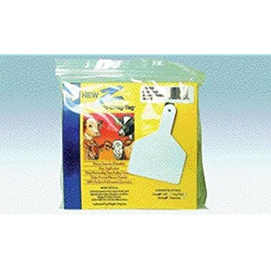 Z Tags 25 Count 1-Piece Blank Tags for Cows, White