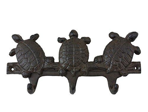 Rustic Iron Three Turtles Key Hook 8'' - Vintage Key Rack - Decorative Key Rack - Nautical Wall Hanging
