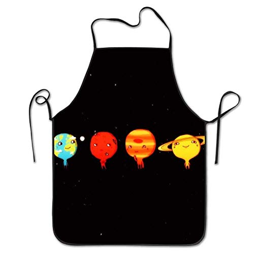 LFTRIS Adjustable Bib Aprons Solar System Housewife Commercial Men & Women Working Chefs Bib Apron For Boyfriends by LFTRIS
