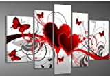 Image of Hand-painted Wood Framed Oil Wall Art Red Flower Love Butterfly Home Decoration Abstract Landscape Oil Painting on Canvas 5pcs/set