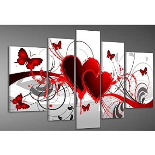 Hand Painted Wood Framed Oil Wall Art Red Flower Love Butterfly Home  Decoration Abstract Landscape Oil Painting On Canvas 5pcs/set
