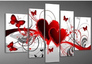 Hand-painted Wood Framed Oil Wall Art Red Flower Love