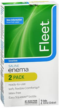 Fleet Enema, Ready-to-Use Saline Laxative, 2 - 4.5 oz, Pack of 5