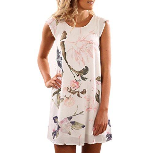 Women Mini Dress - Franterd Casual Evening Party Dress - Summer Beach Sundress (M, Multicolor)