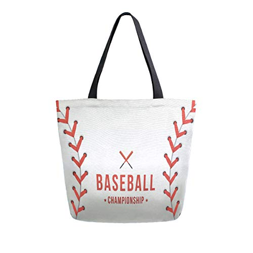 SUABO Baseball Tote Bag Large Women Casual Shoulder Bag Handbag, Reusable Shopping Grocery Canvas Bag for Outdoors