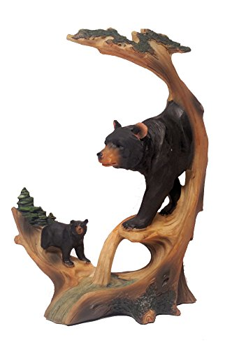 Black Bear Decor Carved Log Look Figurine of Black Bear and Cub, 9