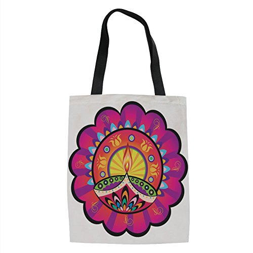 IPrint Diwali,Floral Paisley Design with Oriental Details and Tribal Ethnic Diwali Candles Print,Multicolored Printed Women Shoulder Linen Tote Shopping Bag by IPrint