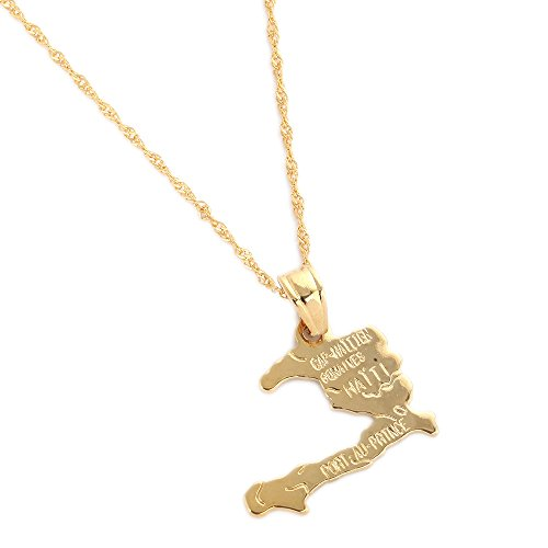 24K Gold Plated The Republic of Haiti Map Pendant Necklace Chain PORT-AU-PRINCE Map Jewelry