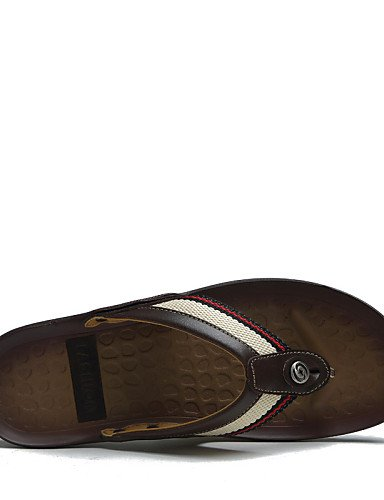 NTX/ Men's Shoes Outdoor / Casual Nappa Leather / Fabric Sandals / Flip-Flops Black / Brown / Orange brown-us7.5 / eu39 / uk6.5 / cn40 4IvNKd