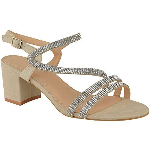 Fashion Thirsty Heelberry® New Womens Ladies Low Block Heel Diamante Sandals Wedding Party Prom Black Size Nude Faux Suede ryzGGzca