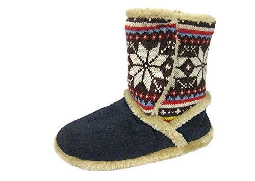Coolers 078 Mujer Gamuza Sintética de Punto Nórdico Botas Zapatillas Azul Marino