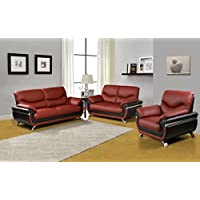 Beverly Furniture 3Piece Red-Black Contempraray Faux Leather Living Room Sofa Set