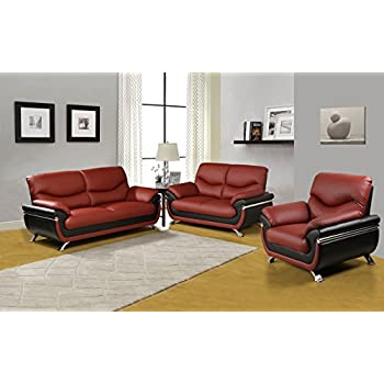 Us Pride Furniture 3 Piece Modern Bonded Leather Sofa Set With Sofa Loveseat And
