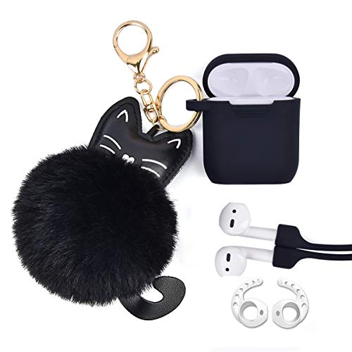 Airpods Case - Airspo Case for Airpods Silicone Case Cover Compatible with Apple Airpods 1/2 Protective Skin with Fur Ball Keychain/Magnetic Strap/Ear Hooks (Black)