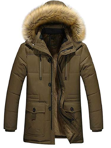 Winter Hooded Warm security Down Faux Long Mens Coat Sleeve Puffer Fur 1 Jacket AIt4ZHqxw