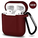 AirPods Case,SATLITOG Protective Silicone Cover Compatible with Apple AirPods 2 and 1(Not for Wireless Charging Case)(Burgundy)