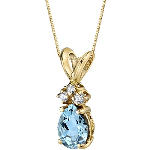 14 Karat Yellow Gold Pear Shape 0.50 Carats Aquamarine Diamond Pendant ()
