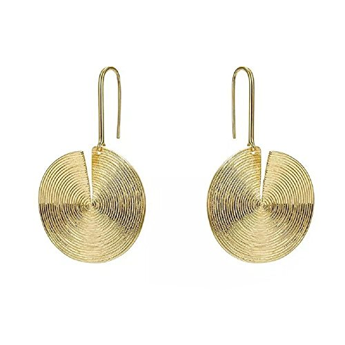 Plastic Round Pendant - Eleganze Gold Plated Gold Colored Round Disc Shaped Drop Earring Hook Earring (drop earring)