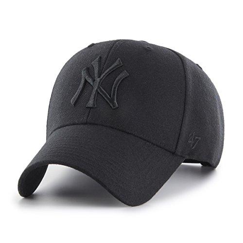 Gorra curva negra snapback con logo negro de New York Yankees MLB MVP de 47 Brand negro