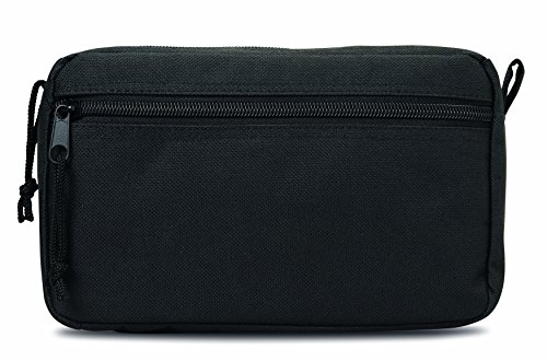 Zippered cosmetic travel bag make up case toiletry holiday beauty (Black)