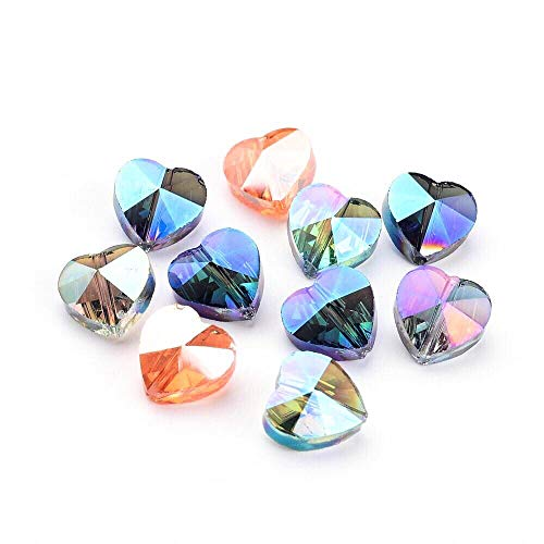 AMZ Beads - Pack of 50! Assorted Faceted Crystal Glass Iridescent AB Heart Beads Vertical Hole